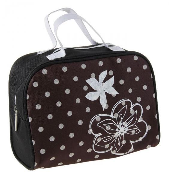 """Косметичка сумочка на молнии """"Горох"""", с ручками, 1 отдел, цвет чёрный"""
