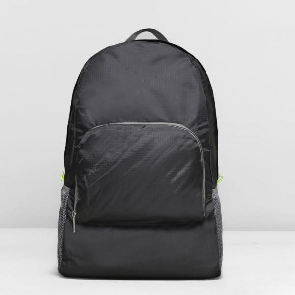 Рюкзак складной на молнии, мягкий, 1 отдел, наружный карман, 2 боковых кармана-сетки, складывается в сумку, цвет чёрный
