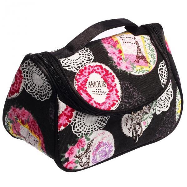 Косметичка-сумочка Кружева 20*11*12, отдел на молнии, с зеркалом, черный