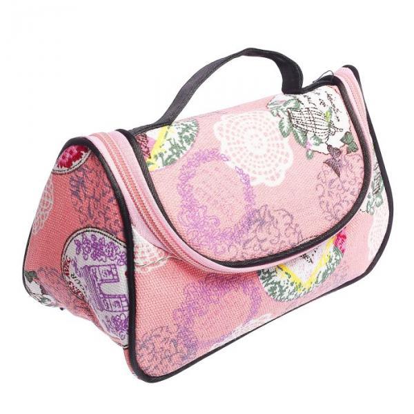 Косметичка-сумочка Кружева 20*11*12, отдел на молнии, с зеркалом, розовый