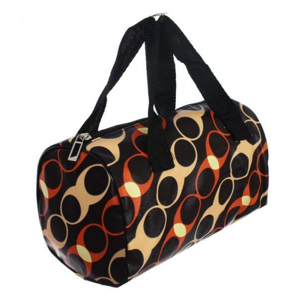 """Косметичка-сумка на молнии """"Овалы"""", 1 отдел, коричневая"""