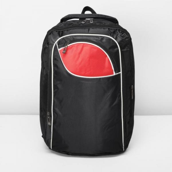 """Рюкзак молодёжный """"Спринт"""", 2 отдела, отдел для компьютера, 2 наружных и 2 боковых кармана, чёрный/красный"""