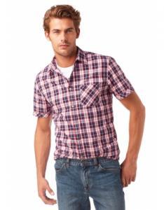 Фото  Рубашка мужская в клетку, длинный и короткий рукав