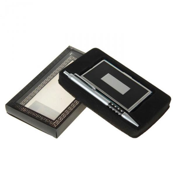 Набор подарочный 2в1 в блистере (визитница+ручка) черный