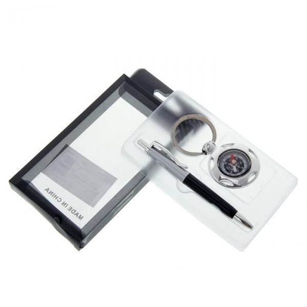 Набор подарочный 2в1: ручка, брелок-компас, черный