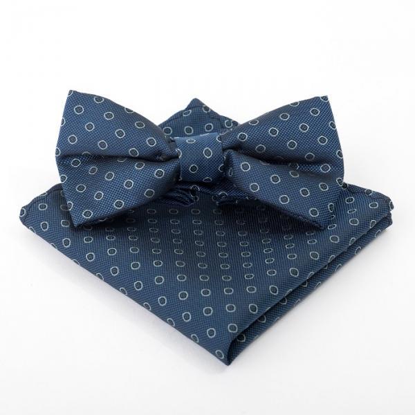 Набор детский: галстук-бабочка 10х5, платок 18х18, морская волна, п/э