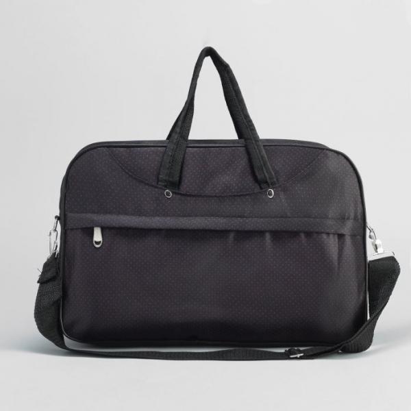 Сумка дорожная на молнии, 1 отдел, наружный карман, длинный ремень, цвет чёрный