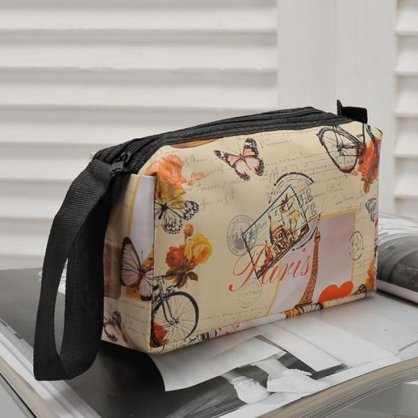 Косметичка-сумочка Города, 17*6*9см, отдел на молнии, с ручкой, бежевый