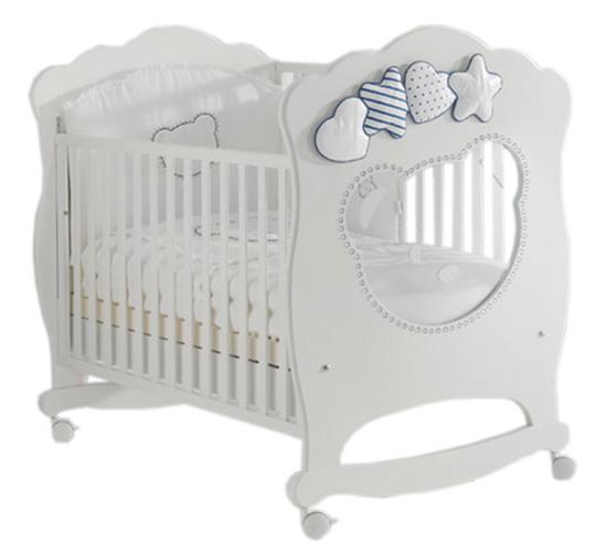 Детская кроватка Mibb Moon колесо-качалка 125x65 см