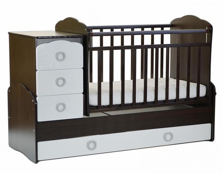 Детская кроватка трансформер СКВ-9 Птички (маятник поперечный)
