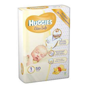 Фото Хаггис Элит Софт - Huggies Elite Soft  Подгузник для новорожденных Huggies Elite Soft 1 (0-5 кг) 50 штук