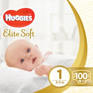 Фото Хаггис Элит Софт - Huggies Elite Soft  Подгузник для новорожденных Huggies Elite Soft 1 (0-5 кг) 100 штук