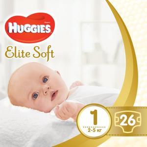 Фото Хаггис Элит Софт - Huggies Elite Soft  Подгузник для новорожденных Huggies Elite Soft 1 (0-5 кг) 26 штук