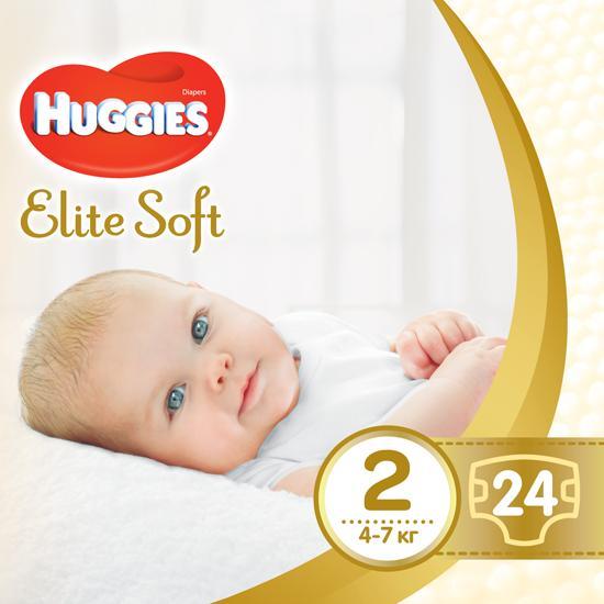 Подгузник Huggies Elite Soft 2(4-7кг) 24 штуки