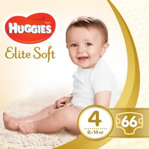 Фото Хаггис Элит Софт - Huggies Elite Soft  Подгузники Huggies Elite Soft 4 (8-14 кг) 66 шт.