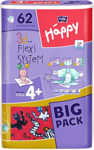 Підгузники для дітей HAPPY BELLA BABY 4+  maxi plus (62 шт)