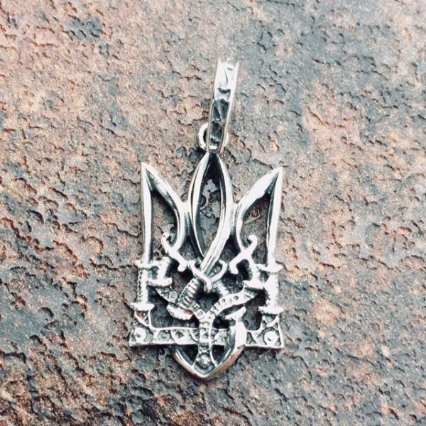 Фото Кулоны Различной тематики Тризуб серебро 925