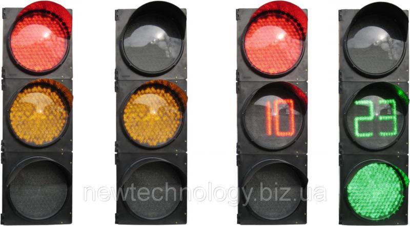 Светофор Т1.3ТОВ транспортный трехсекционный 300 мм c таблом отсчета времени в желтой секции