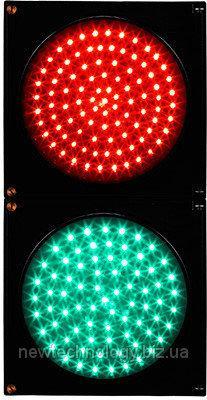 Светофор светодиодный JD200-3-ZGSM-2 230В (зеленый+красный), 200 мм