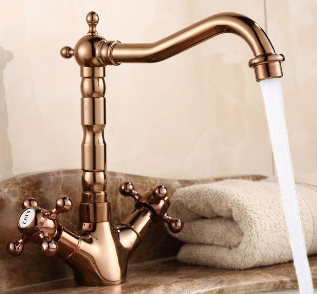 Смеситель кран двухвентельный в ванную комнату или на кухню для мойки раковины
