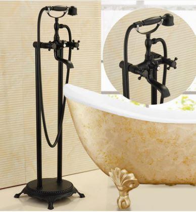 Напольная стойка черная в ванную со смесителем краном и лейкой