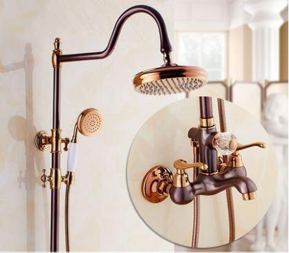 Душевая стойка со смесителем лейкой и верхним душем для ванной комнаты красное золото