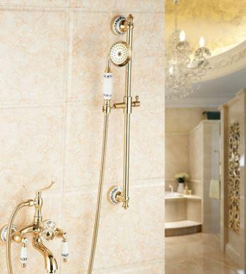 Смеситель кран с лейкой и штангой для ванной комнаты бронза