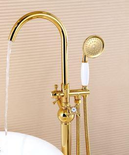 Напольный смеситель для ванны с лейкой золото 0216