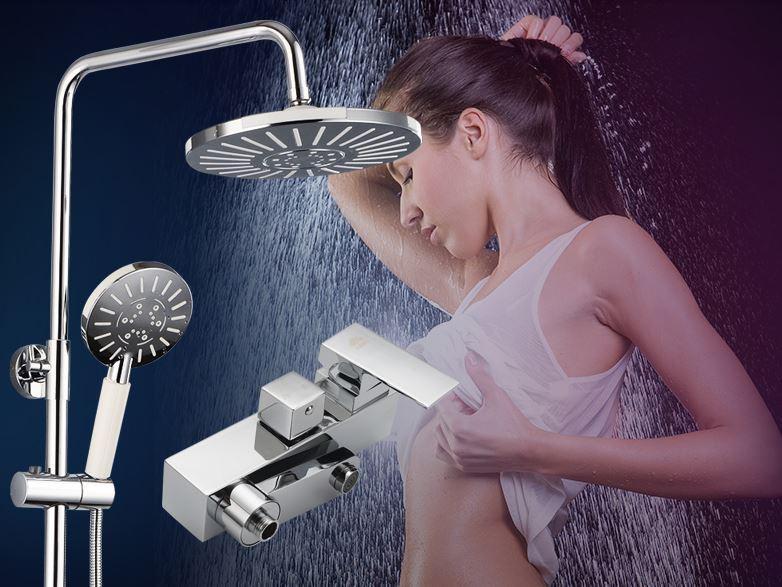 Стойка для душа с полочкой верхним душем смесителем и лейкой в ванную комнату