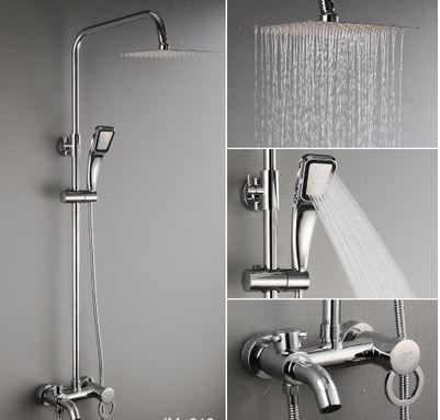 Душевая стойка для ванной комнаты со смесителем краном, лейкой и верхним душем