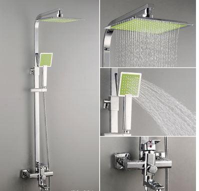 Душевая стойка для ванной со смесителем лейкой и верхним душем