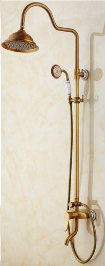 Душевая стойка для ванной комнаты с верхним душем со смесителем краном и лейкой бронза