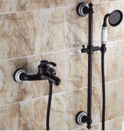Смеситель кран черный с лейкой для ванной комнаты