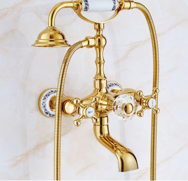 Смеситель кран с лейкой золото для ванной комнаты