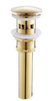 Донный клапан в золоте с переливом для умывальника 0350
