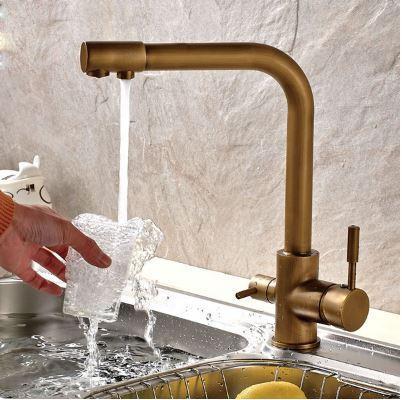 Смеситель (кран с питьевой водой) на кухню для мойки раковины или умывальника бронза однорычажный