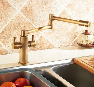 Смеситель кухонный двухрычажный для кухни мойки