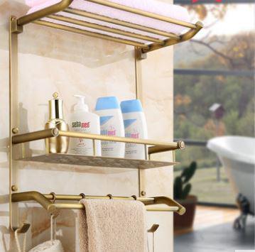 Полочка подвесная бронза настенная с откидным верхом вешалкой в ванную 0305