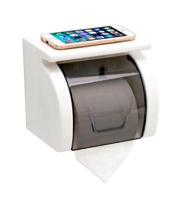 Настенный держатель для туалетной бумаги с полочкой и крышкой белый