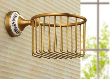 Настенный (подвесной) держатель для туалетной бумаги бронза