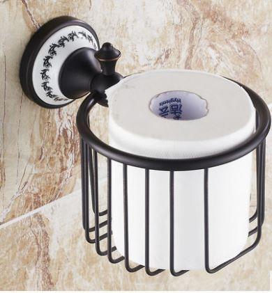 Настенный (подвесной) черный держатель для туалетной бумаги