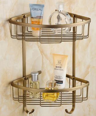 Полочка угловая для ванной комнаты двухярусная настенная подвесная бронза 0322