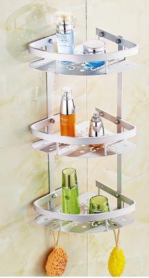 Полочка для ванной комнаты угловая настенная подвесная трех ярусная