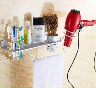 Полочка настенная подвесная с вешалкой отделением для зубных щеток фена