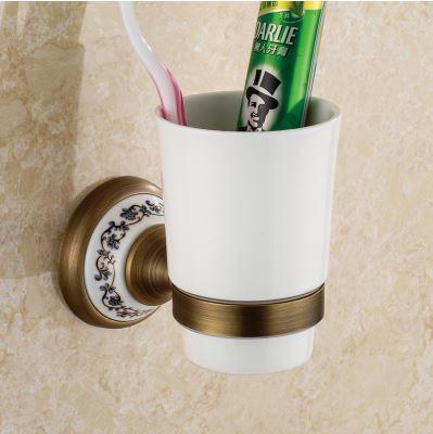Стакан подставка в бронзе подвесной настенный для зубных щеток