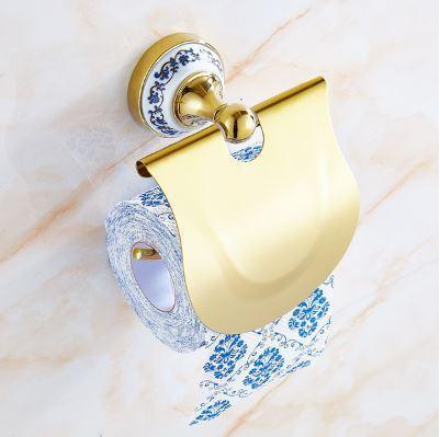 Настенный держатель туалетной бумаги золото с крышкой 0333