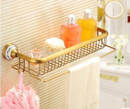 Полочка настенная с вешалкой и крючками в ванную бронза 0335