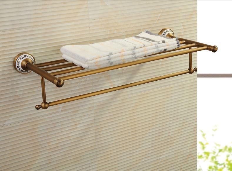 Полочка настенная с вешалкой в ванную бронза 0336