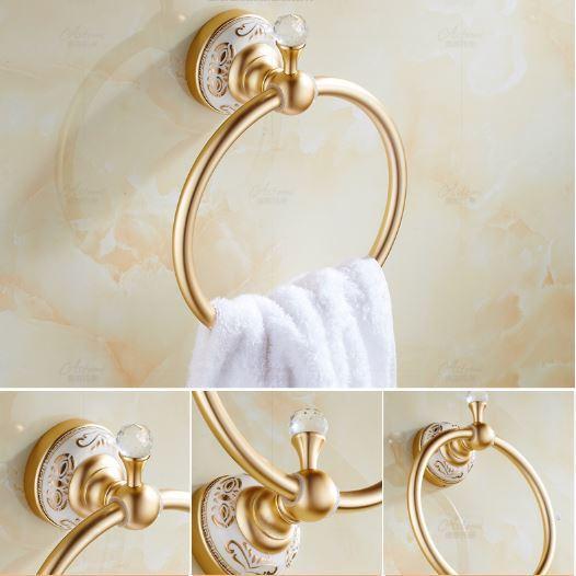 Вешалка кольцо в ванную или на кухню золото 0339