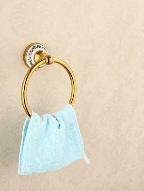 Вешалка кольцо в ванную или на кухню золото 0442